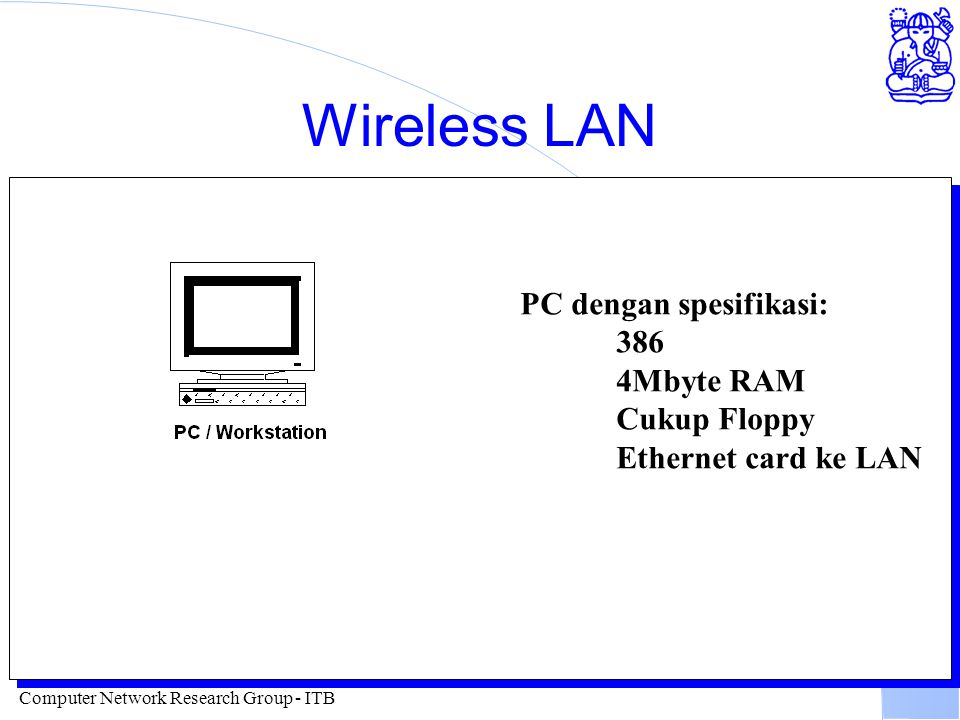 Computer Network Research Group - ITB Peralatan Wireless WAN l Card Wireless Ethernet l Speed 2Mbps s/d 10Mbps l Distance 15-40 km :-).... l Antenna Y
