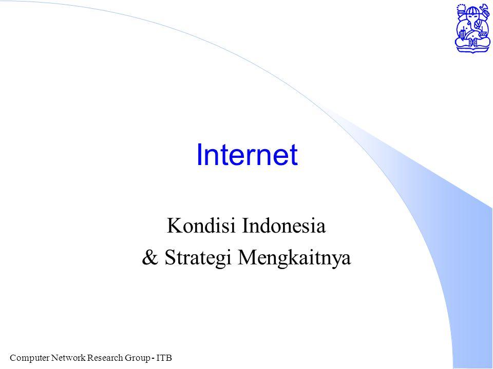 Computer Network Research Group - ITB Web Caching l Pemakan traffic terbesar di Internet l Perlu dilakukan caching secara serius.