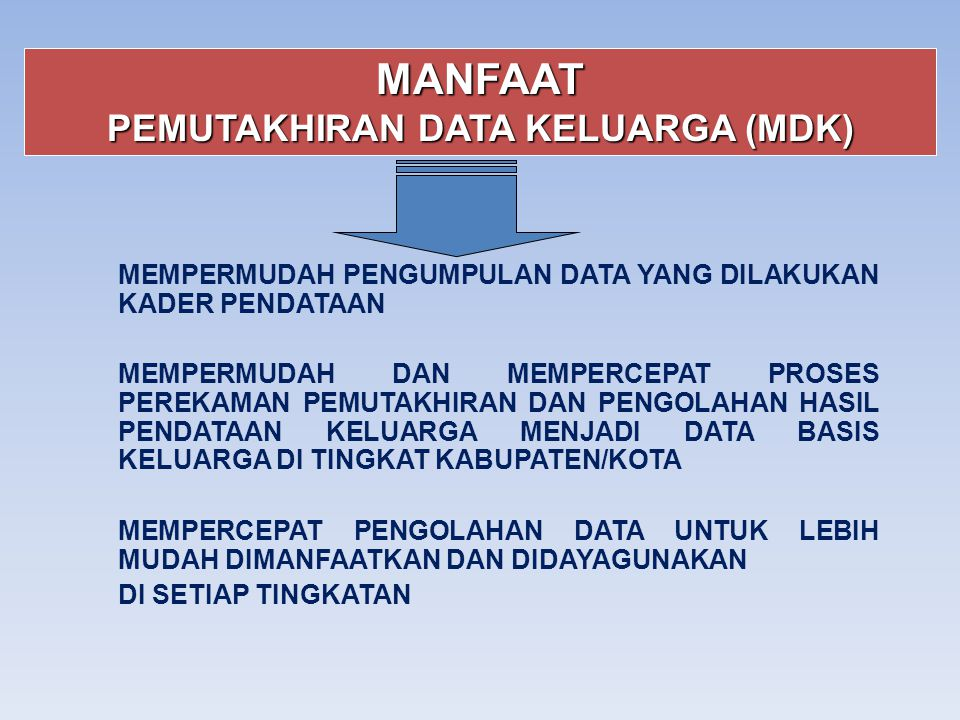 MANFAAT PEMUTAKHIRAN DATA KELUARGA (MDK) MEMPERMUDAH PENGUMPULAN DATA YANG DILAKUKAN KADER PENDATAAN MEMPERMUDAH DAN MEMPERCEPAT PROSES PEREKAMAN PEMU