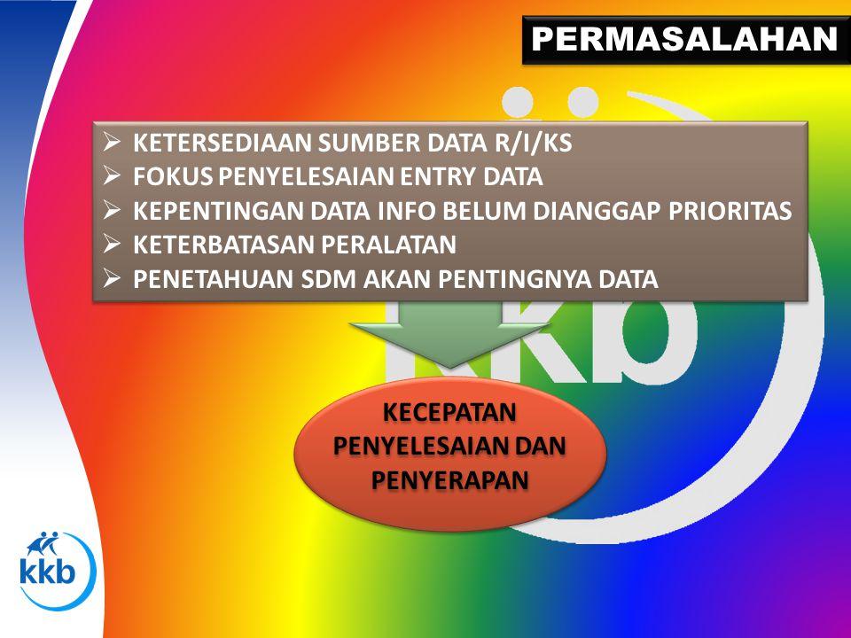 PERMASALAHAN  KETERSEDIAAN SUMBER DATA R/I/KS  FOKUS PENYELESAIAN ENTRY DATA  KEPENTINGAN DATA INFO BELUM DIANGGAP PRIORITAS  KETERBATASAN PERALAT