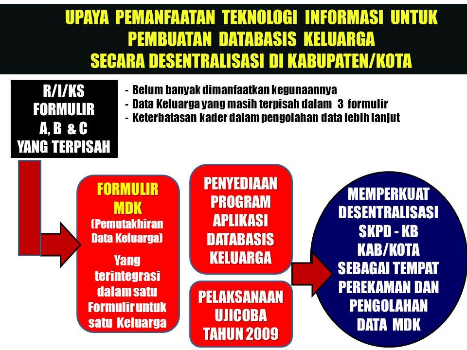 UPAYA PEMANFAATAN TEKNOLOGI INFORMASI UNTUK PEMBUATAN DATABASIS KELUARGA SECARA DESENTRALISASI DI KABUPATEN/KOTA R/I/KS FORMULIR A, B & C YANG TERPISA