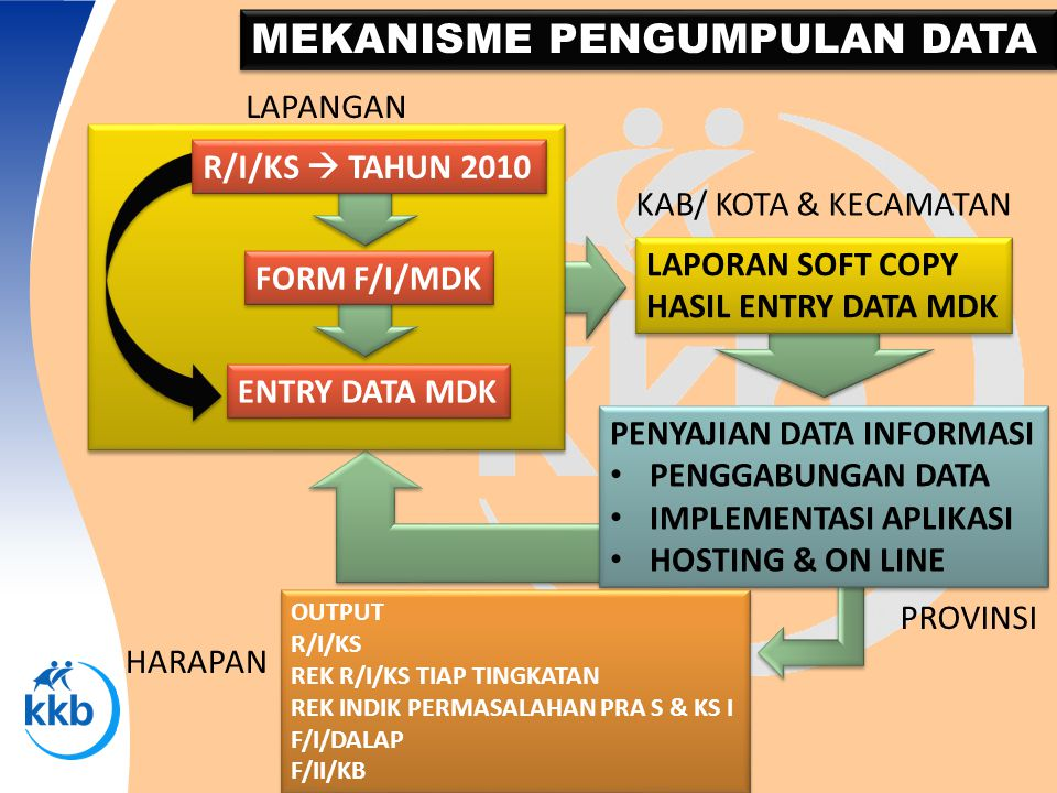 MEKANISME PENGUMPULAN DATA R/I/KS  TAHUN 2010 FORM F/I/MDK ENTRY DATA MDK LAPORAN SOFT COPY HASIL ENTRY DATA MDK LAPORAN SOFT COPY HASIL ENTRY DATA M