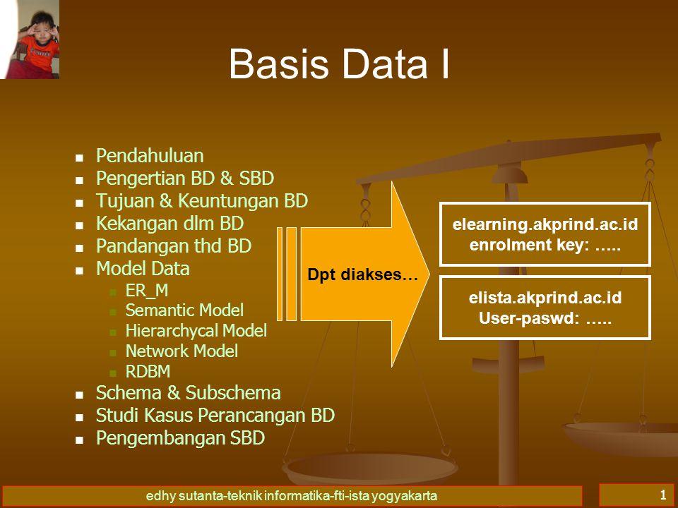 edhy sutanta-teknik informatika-fti-ista yogyakarta 1 Basis Data I Pendahuluan Pengertian BD & SBD Tujuan & Keuntungan BD Kekangan dlm BD Pandangan th
