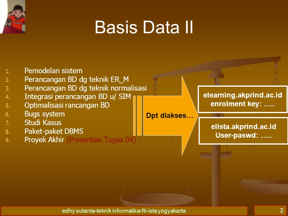 edhy sutanta-teknik informatika-fti-ista yogyakarta 2 Basis Data II 1. 1. Pemodelan sistem 2. 2. Perancangan BD dg teknik ER_M 3. 3. Perancangan BD dg