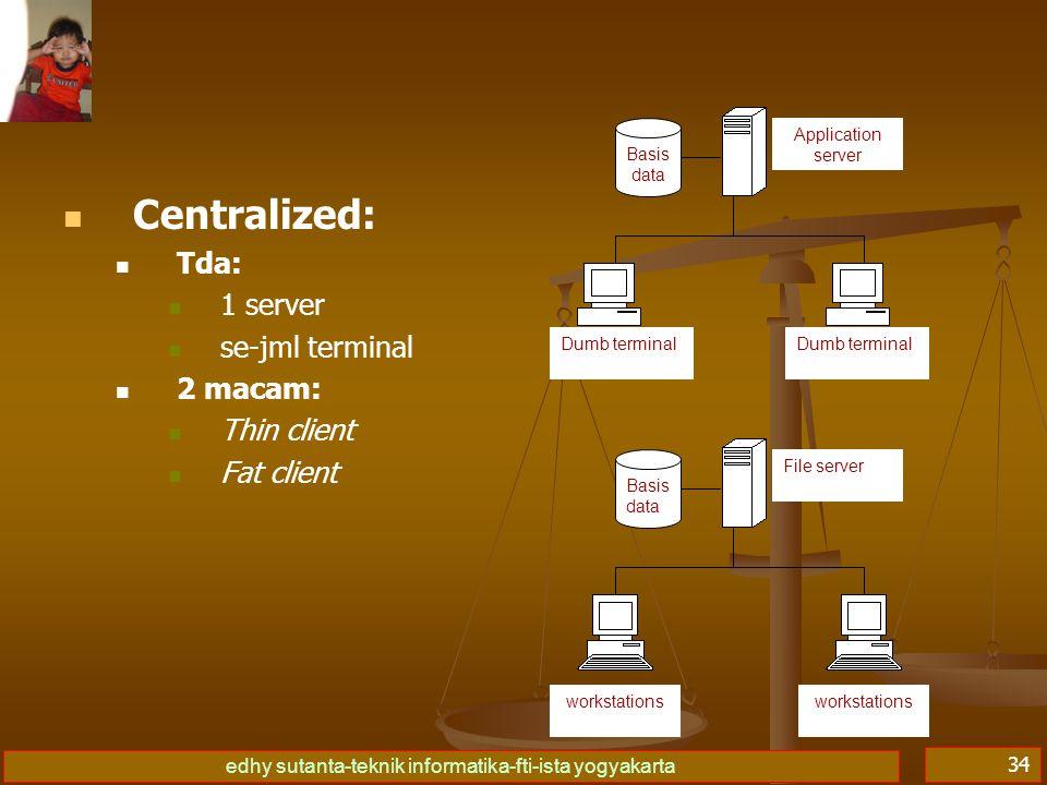 edhy sutanta-teknik informatika-fti-ista yogyakarta 34 Centralized: Tda: 1 server se-jml terminal 2 macam: Thin client Fat client Basis data Applicati
