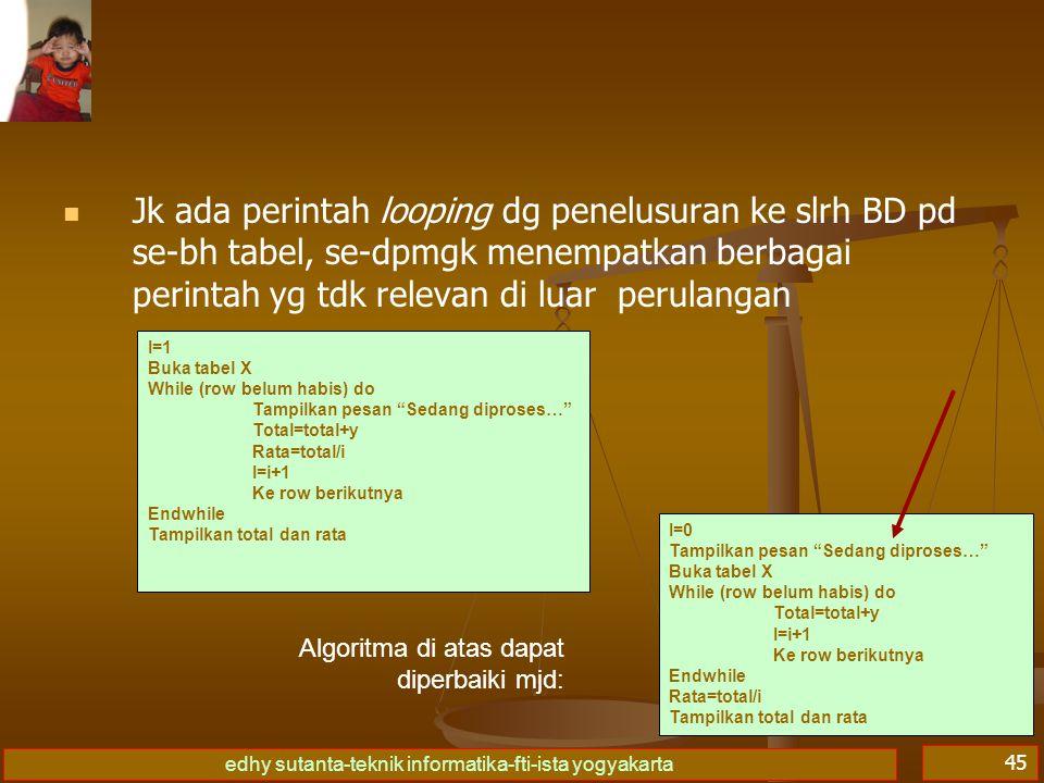 edhy sutanta-teknik informatika-fti-ista yogyakarta 45 Jk ada perintah looping dg penelusuran ke slrh BD pd se-bh tabel, se-dpmgk menempatkan berbagai