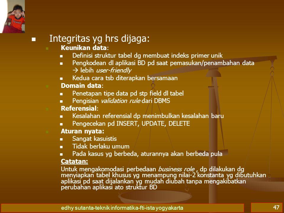 edhy sutanta-teknik informatika-fti-ista yogyakarta 47 Integritas yg hrs dijaga: Keunikan data: Definisi struktur tabel dg membuat indeks primer unik
