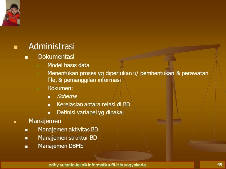 edhy sutanta-teknik informatika-fti-ista yogyakarta 49 Administrasi Dokumentasi Model basis data Menentukan proses yg diperlukan u/ pembentukan & pera