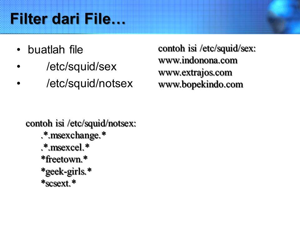 Filter dari File… buatlah file /etc/squid/sex /etc/squid/notsex contoh isi /etc/squid/notsex:.*.msexchange.*.*.msexcel.**freetown.**geek-girls.**scsex