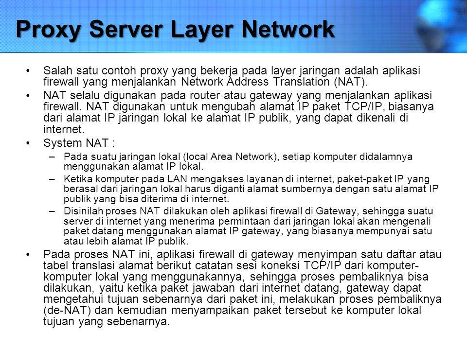 Proxy Server Layer Network Salah satu contoh proxy yang bekerja pada layer jaringan adalah aplikasi firewall yang menjalankan Network Address Translat