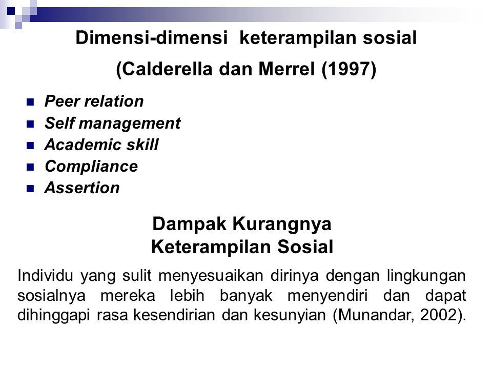Dimensi-dimensi keterampilan sosial (Calderella dan Merrel (1997) Peer relation Self management Academic skill Compliance Assertion Dampak Kurangnya Keterampilan Sosial Individu yang sulit menyesuaikan dirinya dengan lingkungan sosialnya mereka lebih banyak menyendiri dan dapat dihinggapi rasa kesendirian dan kesunyian (Munandar, 2002).
