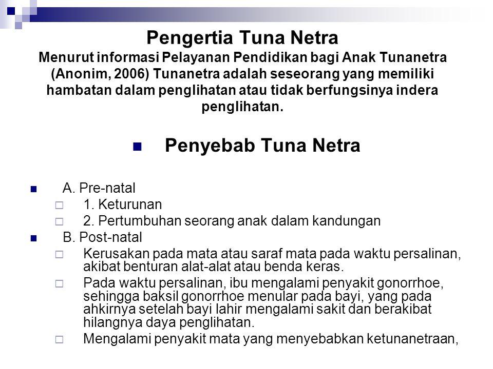Pengertia Tuna Netra Menurut informasi Pelayanan Pendidikan bagi Anak Tunanetra (Anonim, 2006) Tunanetra adalah seseorang yang memiliki hambatan dalam penglihatan atau tidak berfungsinya indera penglihatan.