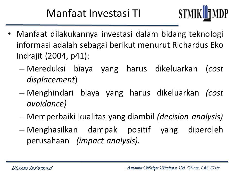 Sistem Informasi Antonius Wahyu Sudrajat, S. Kom., M.T.I Manfaat Investasi TI Manfaat dilakukannya investasi dalam bidang teknologi informasi adalah s