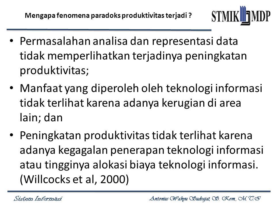 Sistem Informasi Antonius Wahyu Sudrajat, S. Kom., M.T.I Mengapa fenomena paradoks produktivitas terjadi ? Permasalahan analisa dan representasi data