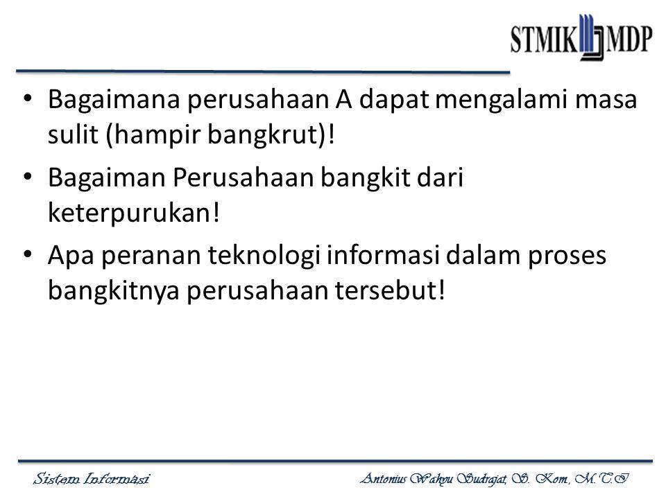 Sistem Informasi Antonius Wahyu Sudrajat, S. Kom., M.T.I Bagaimana perusahaan A dapat mengalami masa sulit (hampir bangkrut)! Bagaiman Perusahaan bang