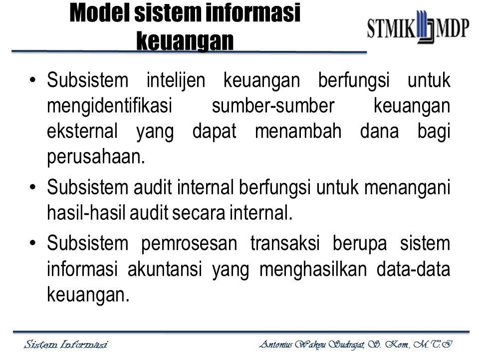 Sistem Informasi Antonius Wahyu Sudrajat, S. Kom., M.T.I Subsistem intelijen keuangan berfungsi untuk mengidentifikasi sumber-sumber keuangan eksterna