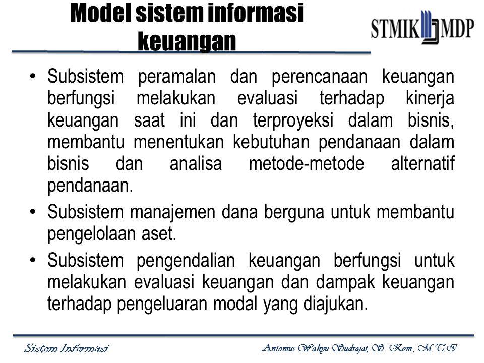 Sistem Informasi Antonius Wahyu Sudrajat, S. Kom., M.T.I Subsistem peramalan dan perencanaan keuangan berfungsi melakukan evaluasi terhadap kinerja ke