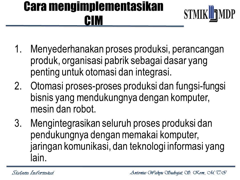 Sistem Informasi Antonius Wahyu Sudrajat, S. Kom., M.T.I Cara mengimplementasikan CIM 1.Menyederhanakan proses produksi, perancangan produk, organisas