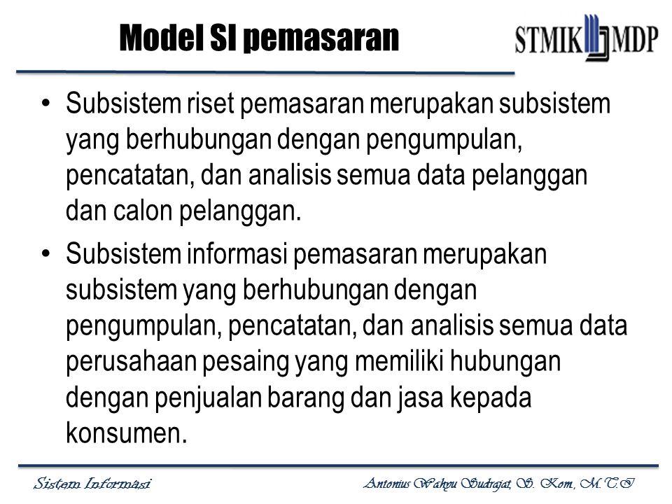 Sistem Informasi Antonius Wahyu Sudrajat, S. Kom., M.T.I Subsistem riset pemasaran merupakan subsistem yang berhubungan dengan pengumpulan, pencatatan