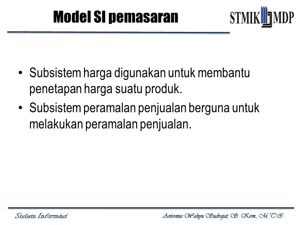 Sistem Informasi Antonius Wahyu Sudrajat, S. Kom., M.T.I Subsistem harga digunakan untuk membantu penetapan harga suatu produk. Subsistem peramalan pe