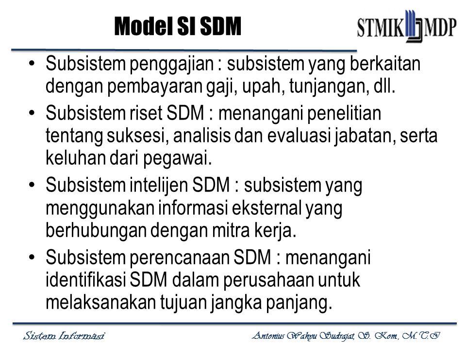 Sistem Informasi Antonius Wahyu Sudrajat, S. Kom., M.T.I Subsistem penggajian : subsistem yang berkaitan dengan pembayaran gaji, upah, tunjangan, dll.