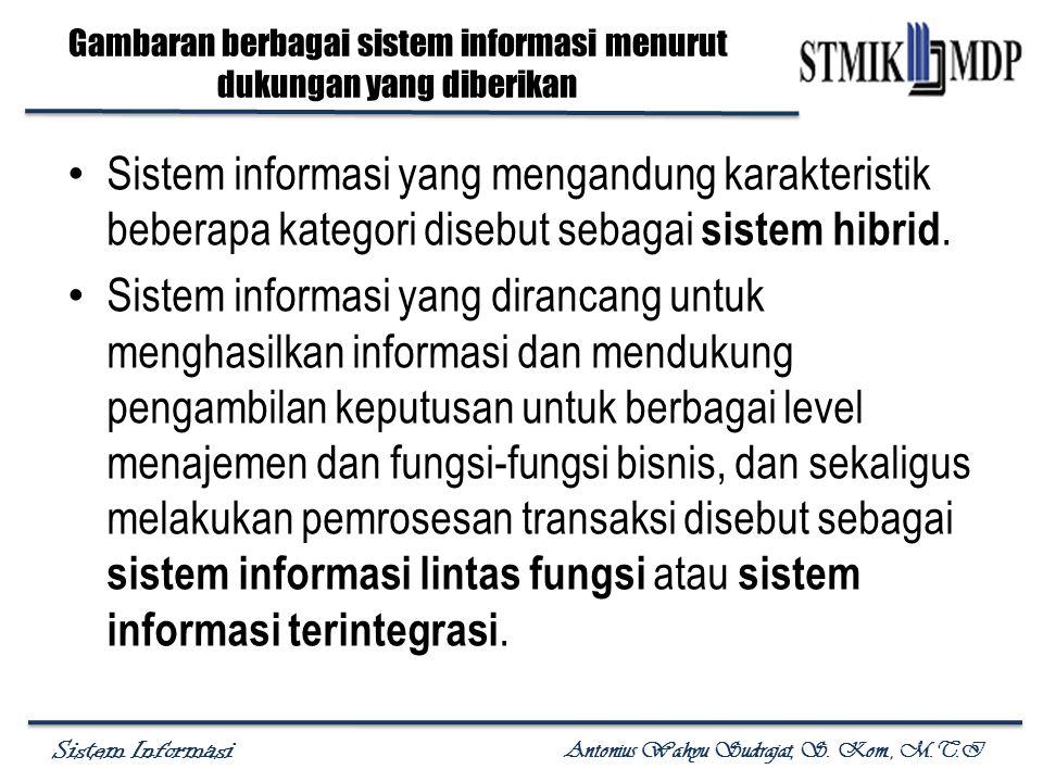 Sistem Informasi Antonius Wahyu Sudrajat, S. Kom., M.T.I Sistem informasi yang mengandung karakteristik beberapa kategori disebut sebagai sistem hibri