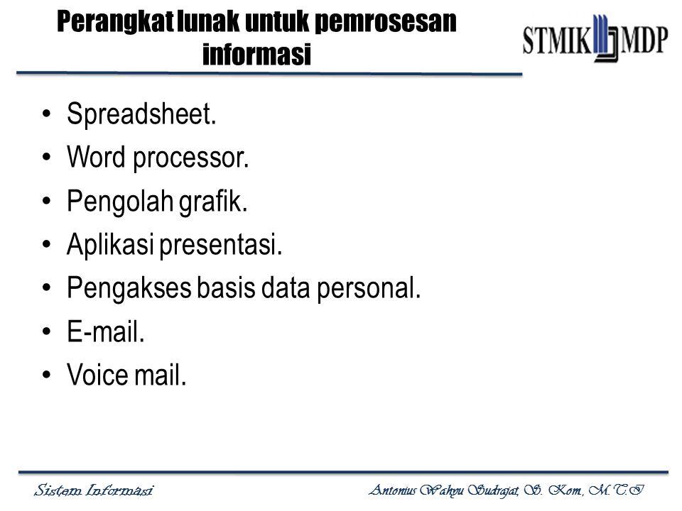 Sistem Informasi Antonius Wahyu Sudrajat, S. Kom., M.T.I Perangkat lunak untuk pemrosesan informasi Spreadsheet. Word processor. Pengolah grafik. Apli