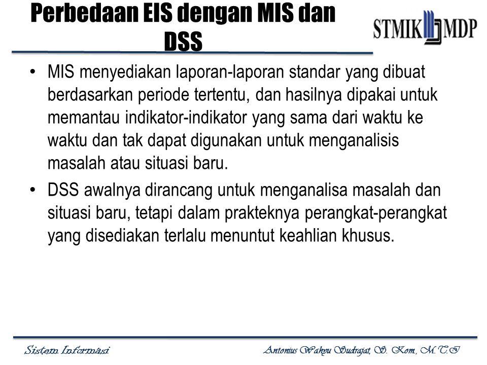 Sistem Informasi Antonius Wahyu Sudrajat, S. Kom., M.T.I Perbedaan EIS dengan MIS dan DSS MIS menyediakan laporan-laporan standar yang dibuat berdasar