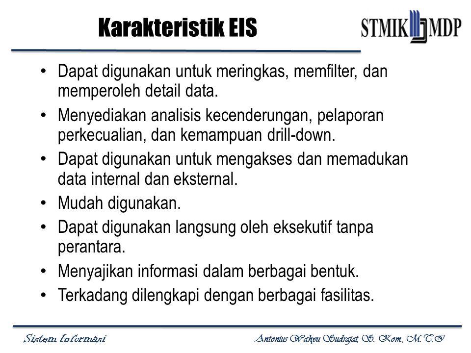 Sistem Informasi Antonius Wahyu Sudrajat, S. Kom., M.T.I Karakteristik EIS Dapat digunakan untuk meringkas, memfilter, dan memperoleh detail data. Men