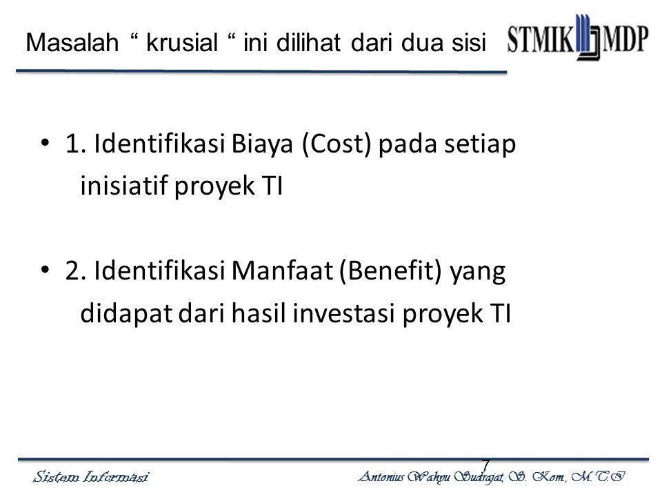"""Sistem Informasi Antonius Wahyu Sudrajat, S. Kom., M.T.I 7 Masalah """" krusial """" ini dilihat dari dua sisi 1. Identifikasi Biaya (Cost) pada setiap inis"""