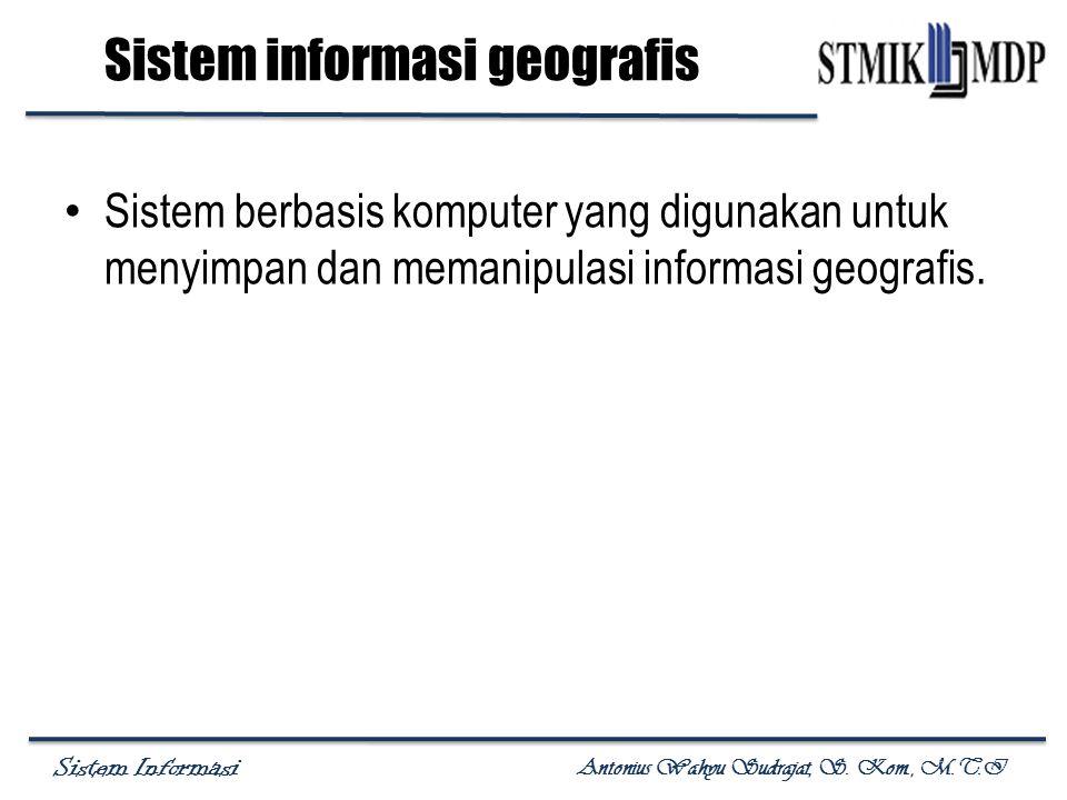 Sistem Informasi Antonius Wahyu Sudrajat, S. Kom., M.T.I Sistem informasi geografis Sistem berbasis komputer yang digunakan untuk menyimpan dan memani