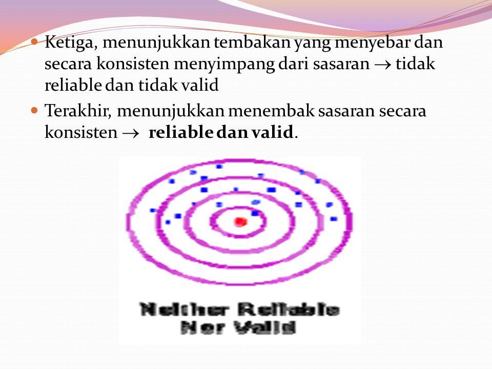 Ketiga, menunjukkan tembakan yang menyebar dan secara konsisten menyimpang dari sasaran  tidak reliable dan tidak valid Terakhir, menunjukkan menembak sasaran secara konsisten  reliable dan valid.