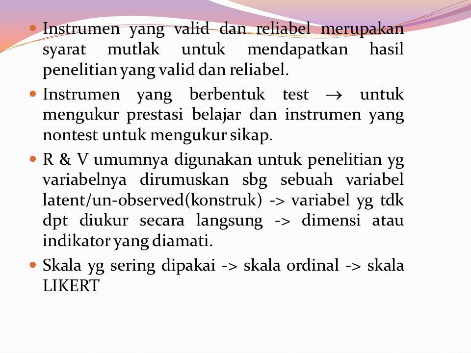 Instrumen yang valid dan reliabel merupakan syarat mutlak untuk mendapatkan hasil penelitian yang valid dan reliabel. Instrumen yang berbentuk test 