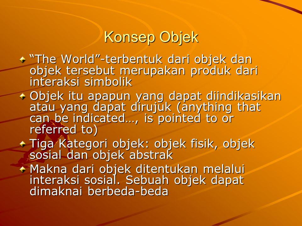 Konsep Objek The World -terbentuk dari objek dan objek tersebut merupakan produk dari interaksi simbolik Objek itu apapun yang dapat diindikasikan atau yang dapat dirujuk (anything that can be indicated…, is pointed to or referred to) Tiga Kategori objek: objek fisik, objek sosial dan objek abstrak Makna dari objek ditentukan melalui interaksi sosial.