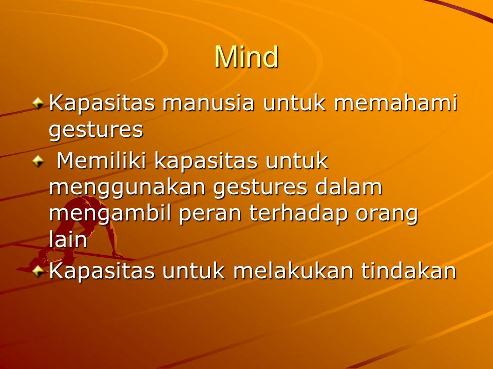 Mind Kapasitas manusia untuk memahami gestures Memiliki kapasitas untuk menggunakan gestures dalam mengambil peran terhadap orang lain Memiliki kapasitas untuk menggunakan gestures dalam mengambil peran terhadap orang lain Kapasitas untuk melakukan tindakan