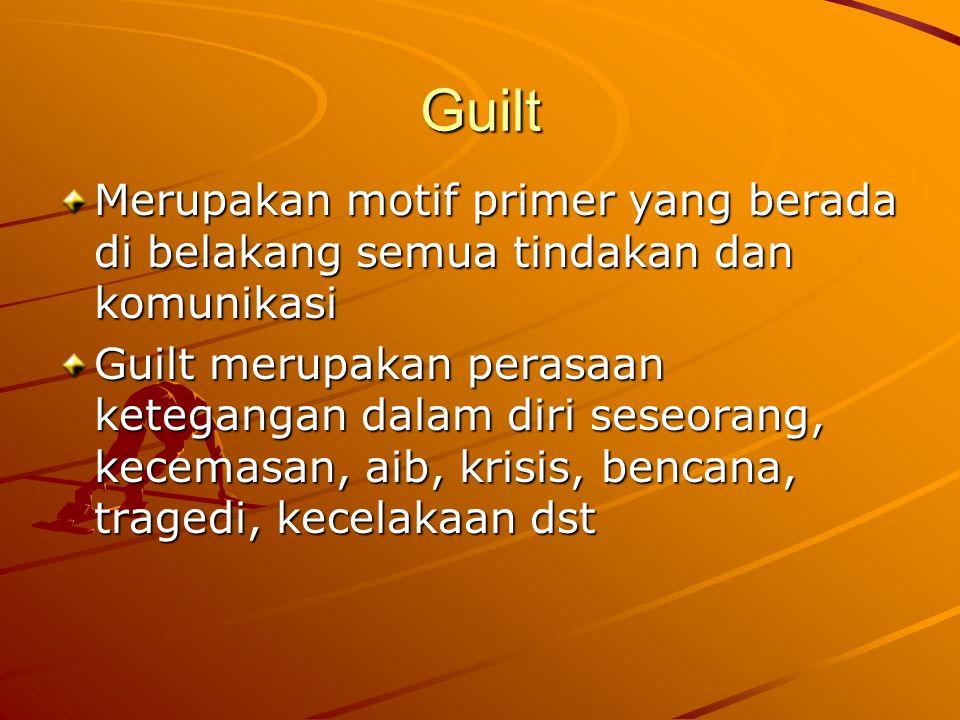 Guilt Merupakan motif primer yang berada di belakang semua tindakan dan komunikasi Guilt merupakan perasaan ketegangan dalam diri seseorang, kecemasan, aib, krisis, bencana, tragedi, kecelakaan dst