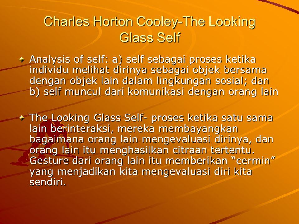 Charles Horton Cooley-The Looking Glass Self Analysis of self: a) self sebagai proses ketika individu melihat dirinya sebagai objek bersama dengan objek lain dalam lingkungan sosial; dan b) self muncul dari komunikasi dengan orang lain The Looking Glass Self- proses ketika satu sama lain berinteraksi, mereka membayangkan bagaimana orang lain mengevaluasi dirinya, dan orang lain itu menghasilkan citraan tertentu.