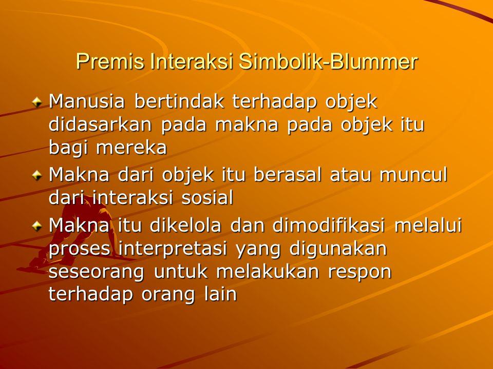 Premis Interaksi Simbolik-Blummer Manusia bertindak terhadap objek didasarkan pada makna pada objek itu bagi mereka Makna dari objek itu berasal atau muncul dari interaksi sosial Makna itu dikelola dan dimodifikasi melalui proses interpretasi yang digunakan seseorang untuk melakukan respon terhadap orang lain
