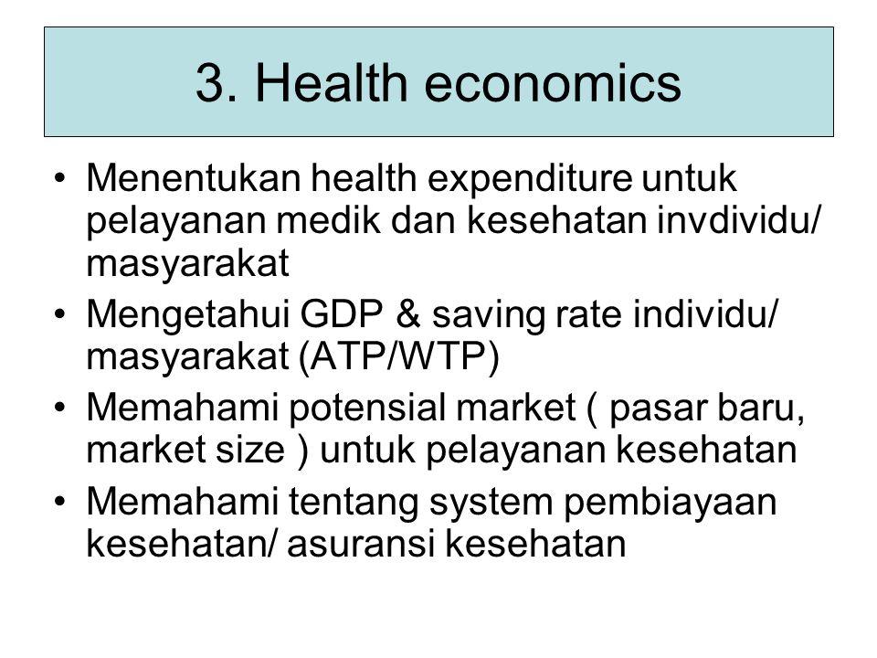 3. Health economics Menentukan health expenditure untuk pelayanan medik dan kesehatan invdividu/ masyarakat Mengetahui GDP & saving rate individu/ mas