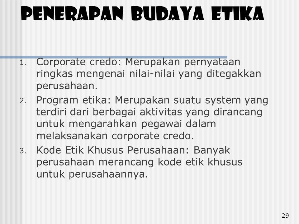 Penerapan budaya etika 1. Corporate credo: Merupakan pernyataan ringkas mengenai nilai-nilai yang ditegakkan perusahaan. 2. Program etika: Merupakan s
