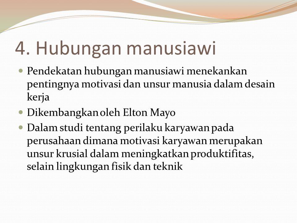 4. Hubungan manusiawi Pendekatan hubungan manusiawi menekankan pentingnya motivasi dan unsur manusia dalam desain kerja Dikembangkan oleh Elton Mayo D
