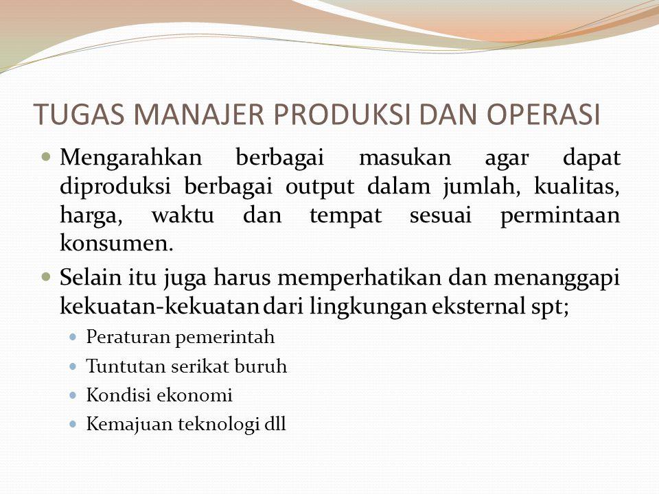 TUGAS MANAJER PRODUKSI DAN OPERASI Mengarahkan berbagai masukan agar dapat diproduksi berbagai output dalam jumlah, kualitas, harga, waktu dan tempat