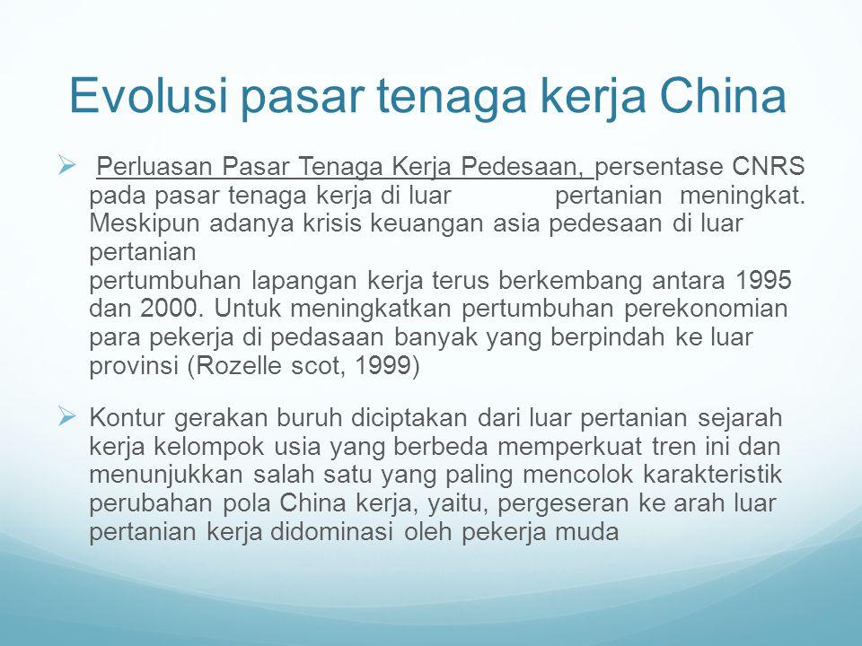 Evolusi pasar tenaga kerja China  Perluasan Pasar Tenaga Kerja Pedesaan, persentase CNRS pada pasar tenaga kerja di luar pertanian meningkat. Meskipu
