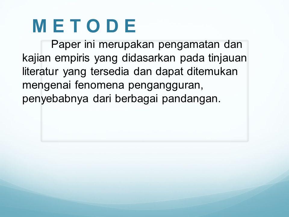 M E T O D E Paper ini merupakan pengamatan dan kajian empiris yang didasarkan pada tinjauan literatur yang tersedia dan dapat ditemukan mengenai fenom