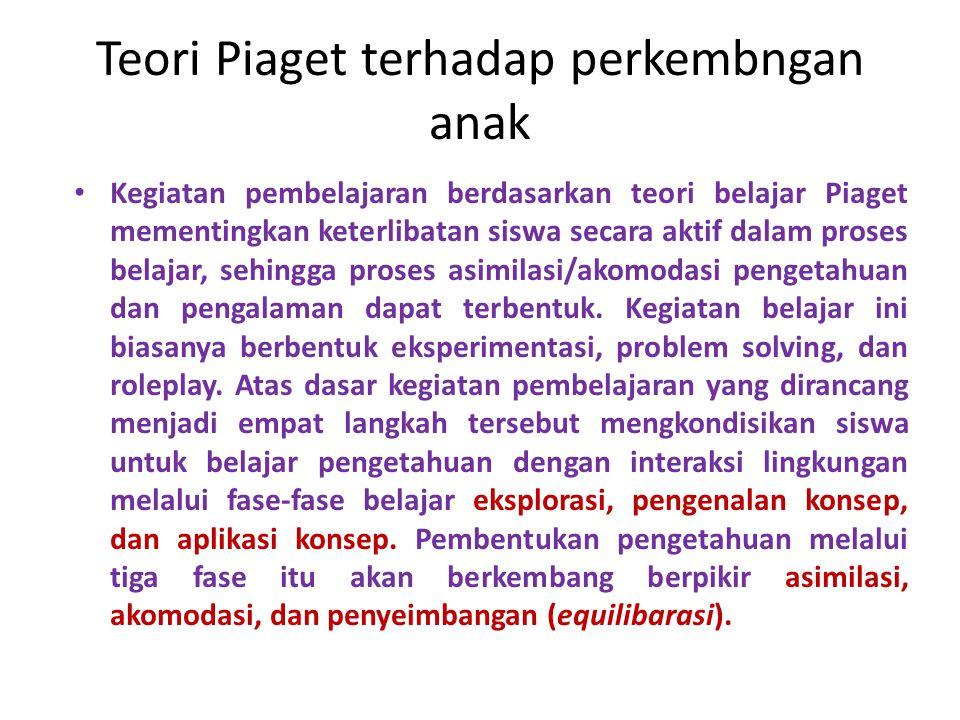 Teori Piaget terhadap perkembngan anak Kegiatan pembelajaran berdasarkan teori belajar Piaget mementingkan keterlibatan siswa secara aktif dalam prose