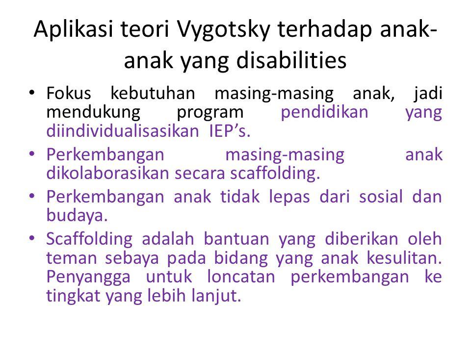 Aplikasi teori Vygotsky terhadap anak- anak yang disabilities Fokus kebutuhan masing-masing anak, jadi mendukung program pendidikan yang diindividuali