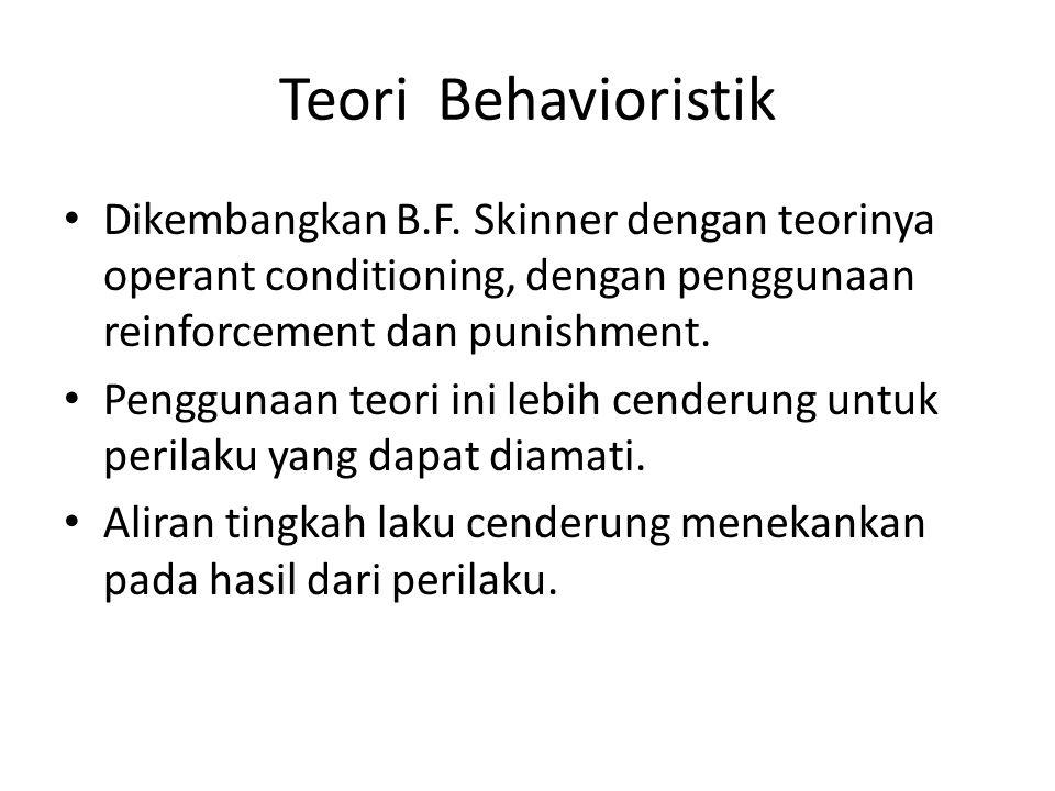Teori Behavioristik Dikembangkan B.F. Skinner dengan teorinya operant conditioning, dengan penggunaan reinforcement dan punishment. Penggunaan teori i