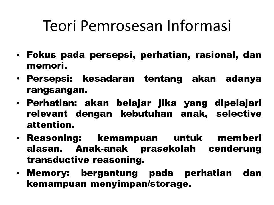 Teori Pemrosesan Informasi Fokus pada persepsi, perhatian, rasional, dan memori. Persepsi: kesadaran tentang akan adanya rangsangan. Perhatian: akan b