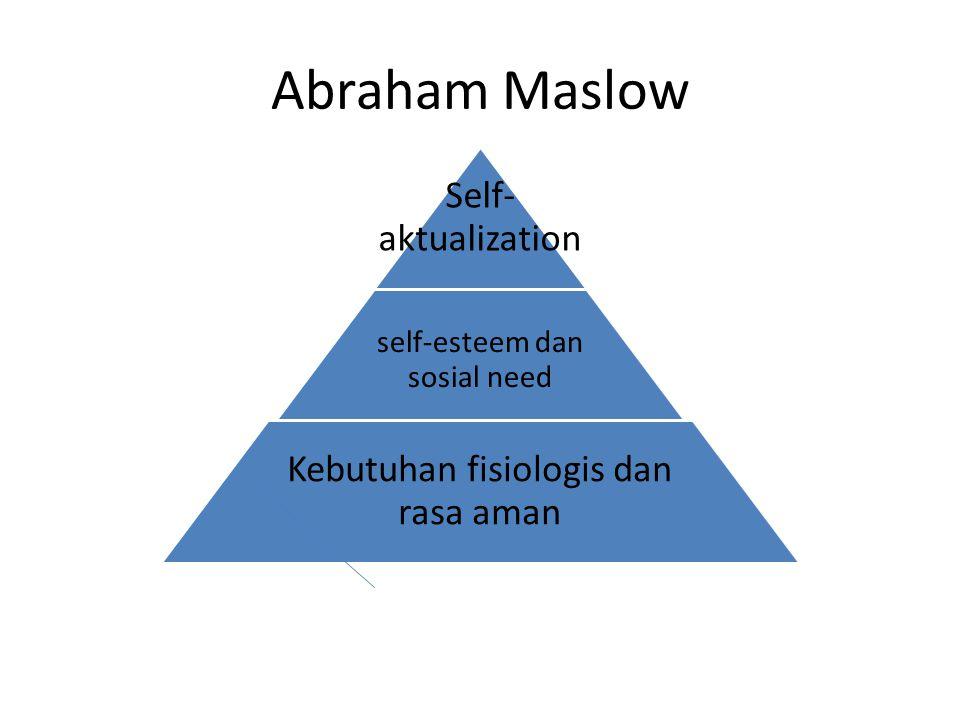 Abraham Maslow Self- aktualization self-esteem dan sosial need Kebutuhan fisiologis dan rasa aman