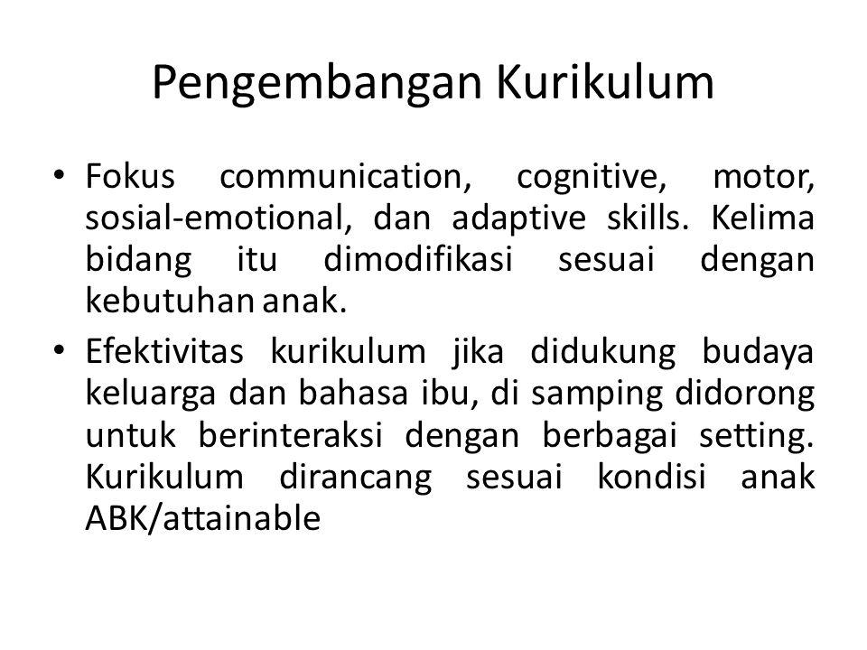 Pengembangan Kurikulum Fokus communication, cognitive, motor, sosial-emotional, dan adaptive skills. Kelima bidang itu dimodifikasi sesuai dengan kebu